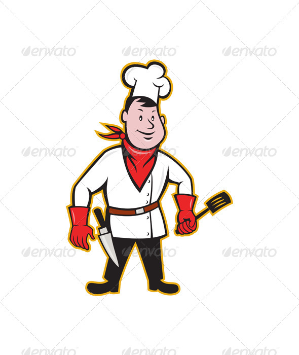 Chef Cook Standing Holding Spatula - People Characters