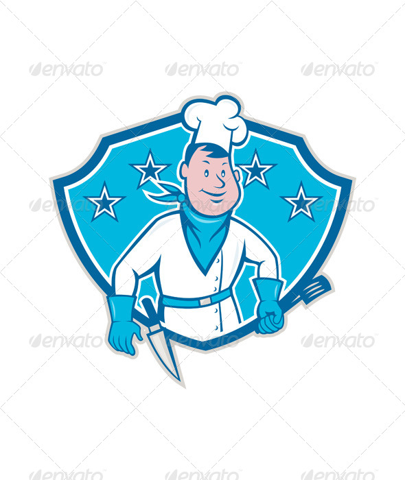 Chef Cook Star Shield - People Characters