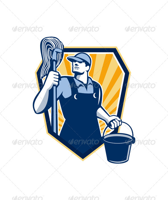 Janitor Holding Mop Bucket Shield Retro - People Characters