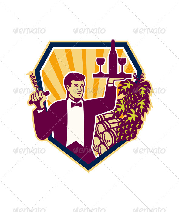 Waiter Serves Wine Glass Bottle Shield Retro - People Characters