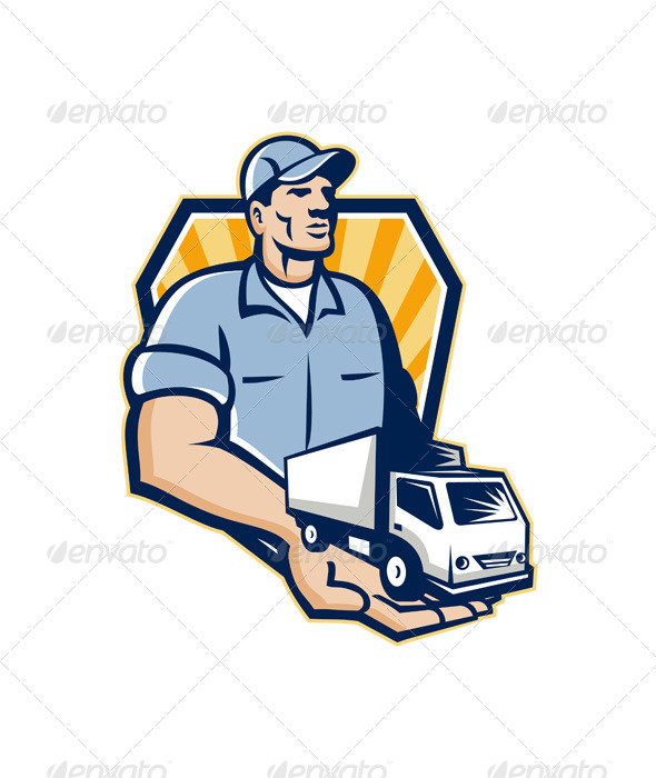 Delivery Man Handing Removal Van Crest Retro - People Characters