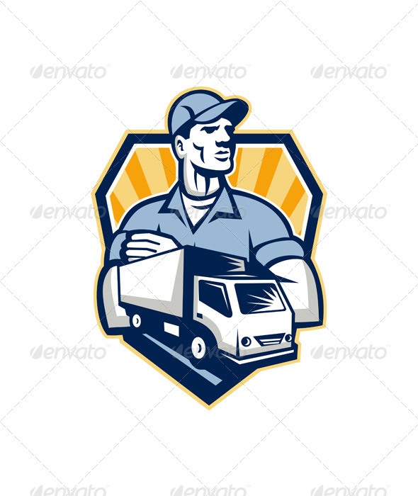 Removal Man Delivery Truck Crest Retro - People Characters
