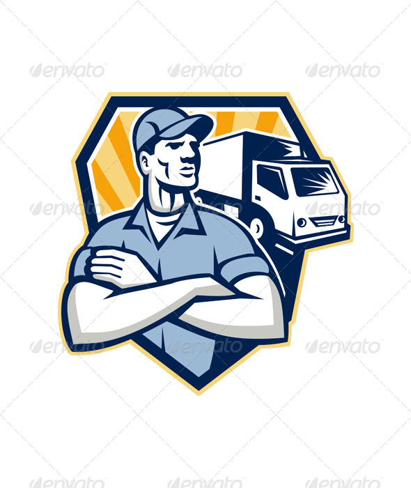 Removal Man Moving Delivery Van Crest Retro - People Characters