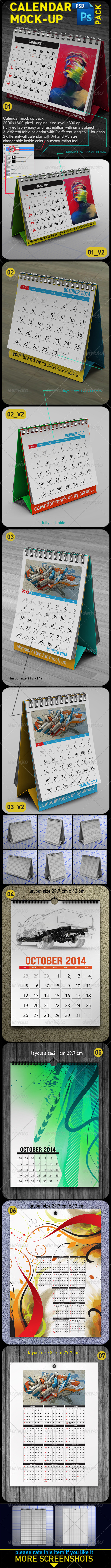 Calendar Mock Up Pack - Product Mock-Ups Graphics