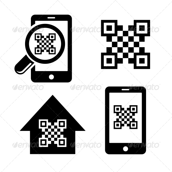 QR Code Icons Set - Technology Icons