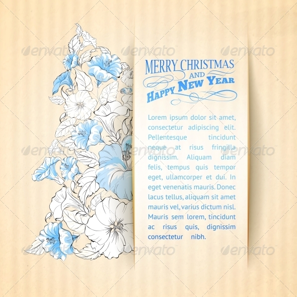 Paper Hibiscus Fir Tree Collage. - Christmas Seasons/Holidays