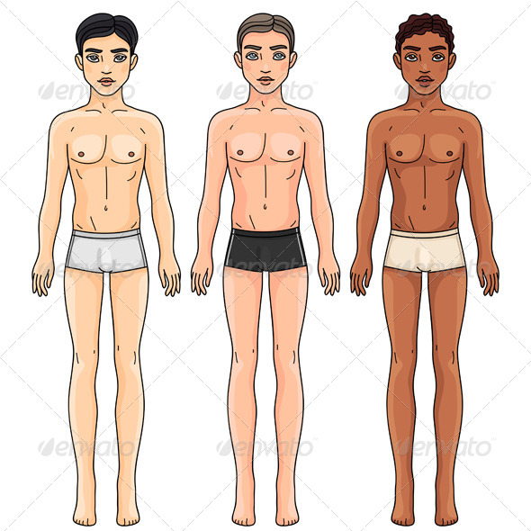 Men from Different Ethnic Groups in Underwear - People Characters