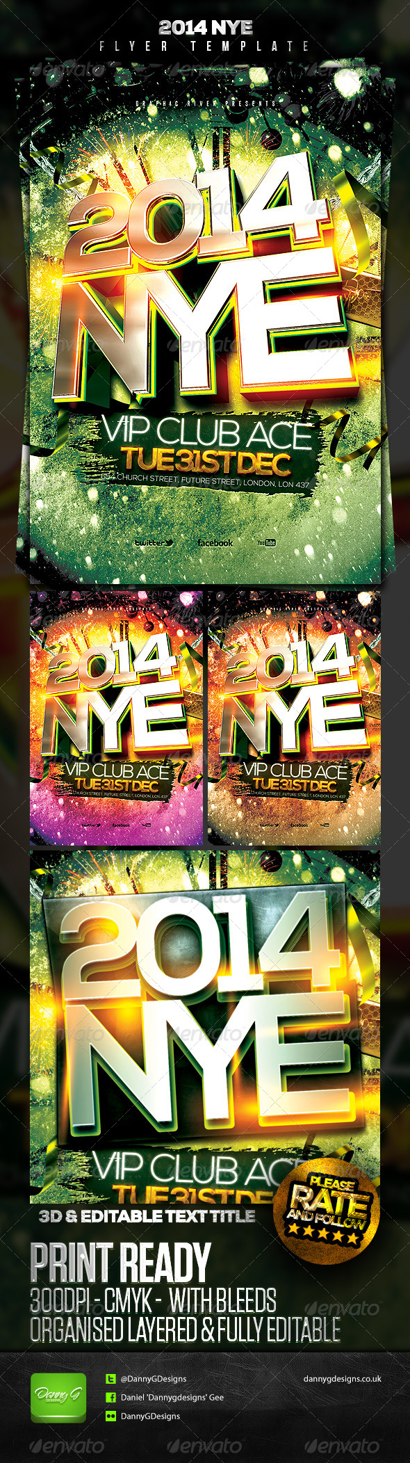 2014 NYE Flyer Template 2 - Clubs & Parties Events