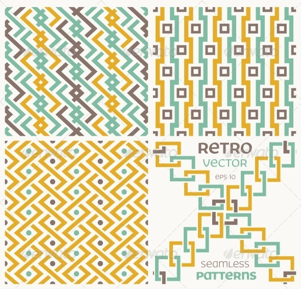Set of Vector Seamless Textures in Retro Style - Patterns Decorative