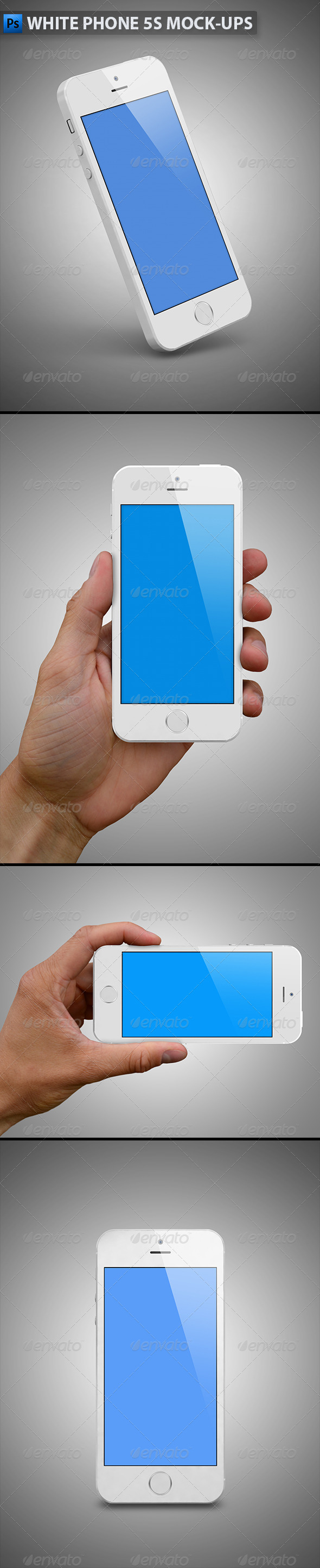 White Phone 5s Mock-Ups - Mobile Displays