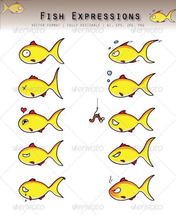 Fish Emoticons - Characters Vectors