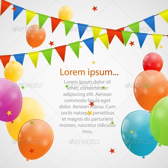 Color Glossy Balloons Background - Birthdays Seasons/Holidays