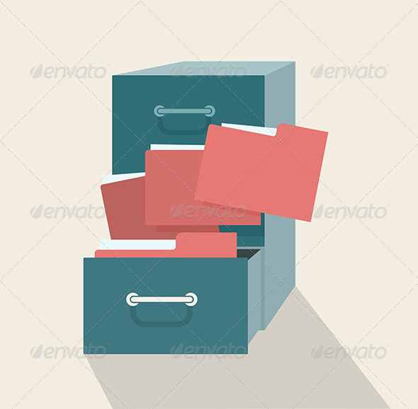 Metal Filing Cabinet with Red Folders - Objects Vectors