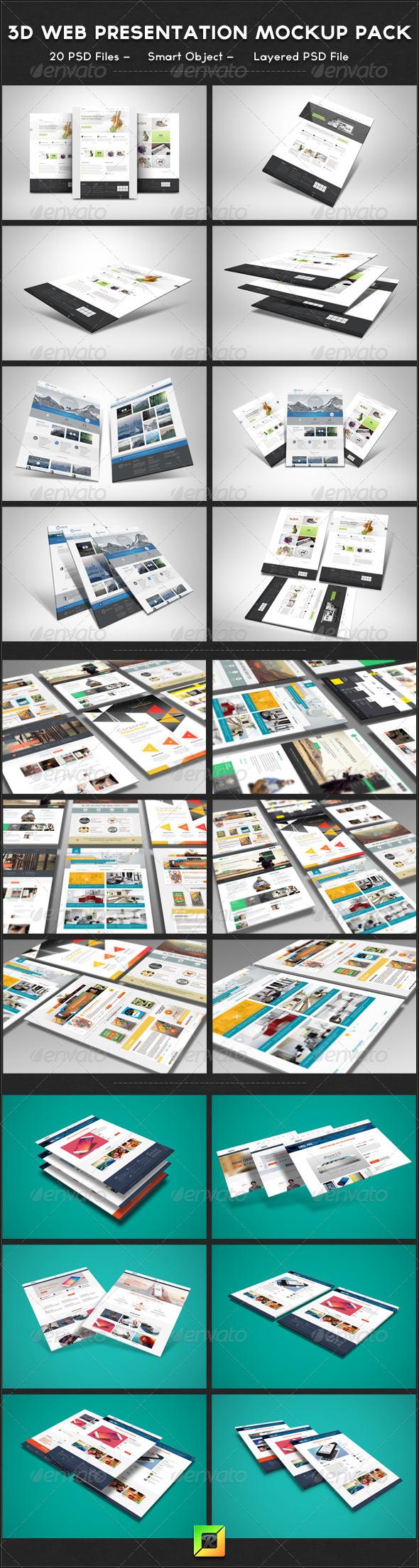 3D Web Presentation Mockup Bundle - Website Displays
