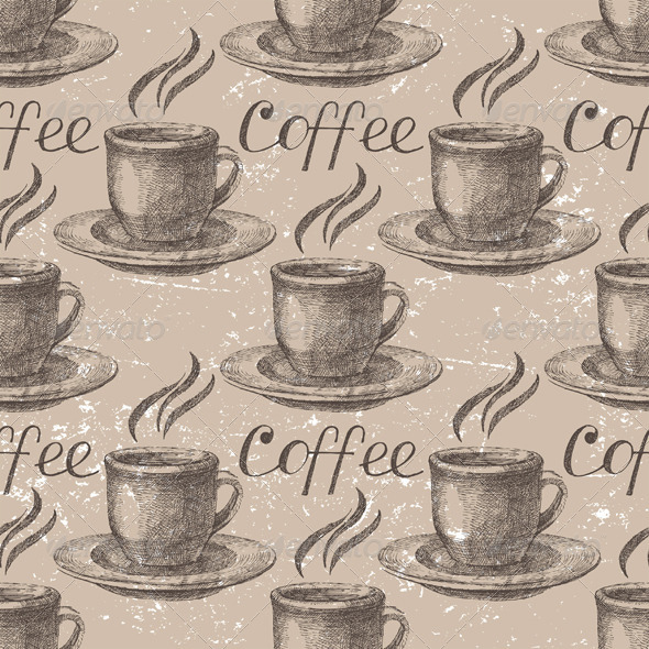 Hand Drawn Coffee Seamless - Patterns Decorative