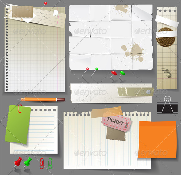 Paper Pages and Clips - Miscellaneous Vectors