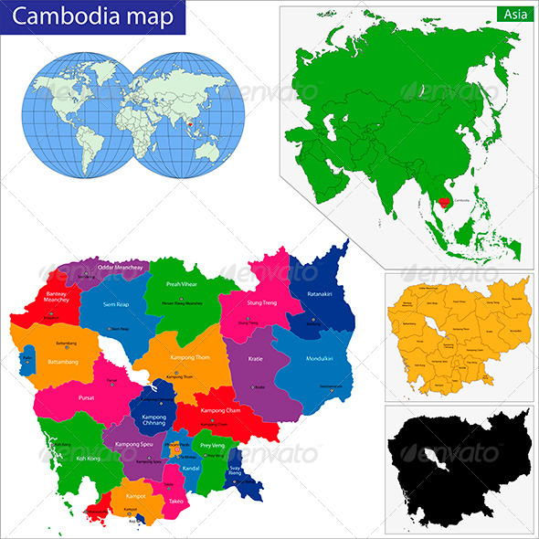 Cambodia Map - Travel Conceptual