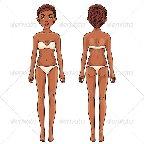 Female Body Front and Back African American Girl - People Characters