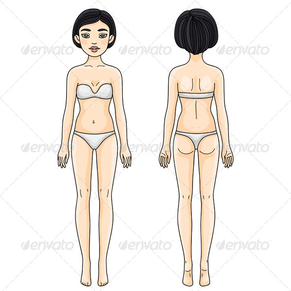 Female Body Front and Back Asian Girl - People Characters