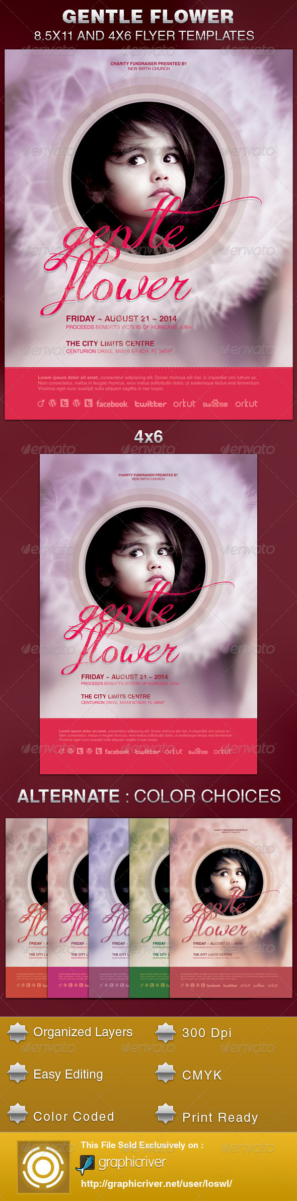 Gentle Flower Church Flyer Template - Church Flyers