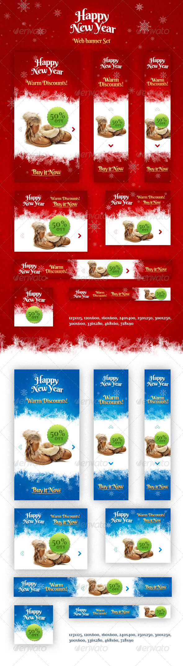 Holiday Banner Set - Banners & Ads Web Elements