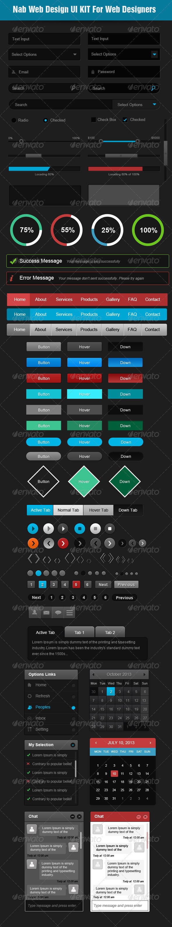 Nab Web Design Ui Kit for Designers - User Interfaces Web Elements