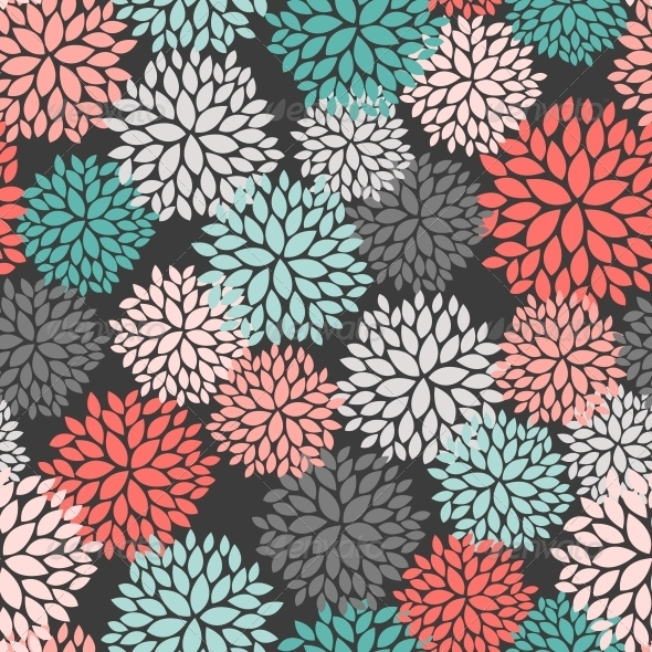 Seamless Pattern of Abstract Flowers - Patterns Decorative
