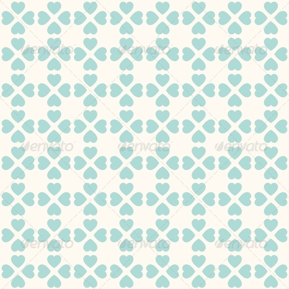 Seamless Geometric Pattern with Hearts - Patterns Decorative