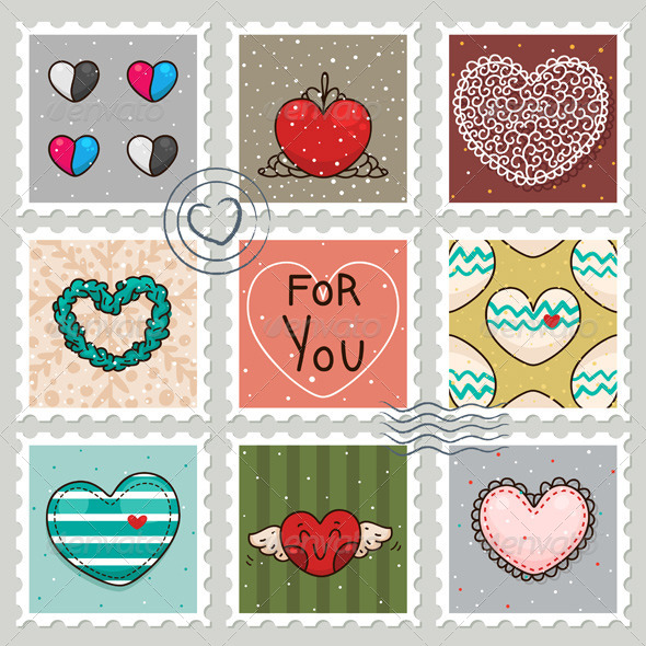 Stamps with Hearts - Valentines Seasons/Holidays