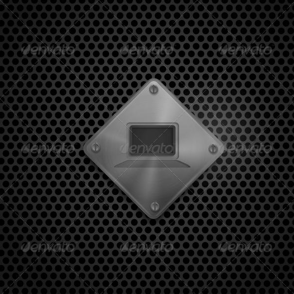 Metal Multimedia Screen Icon - Web Elements Vectors