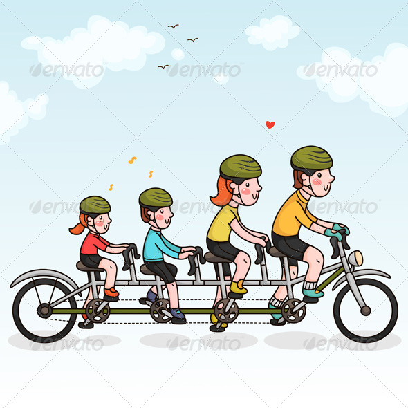 Family Cycling - Sports/Activity Conceptual