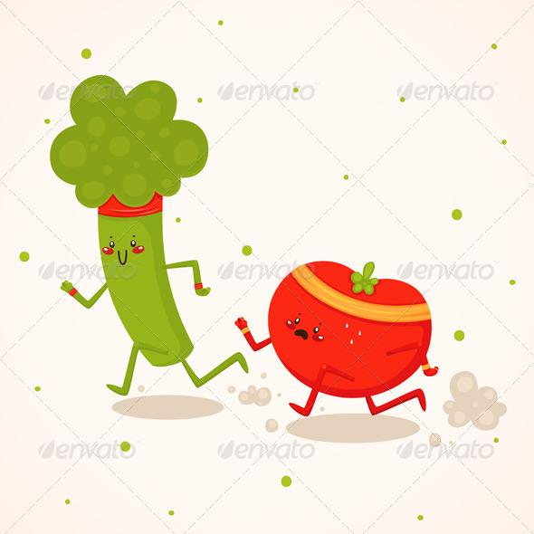 Broccoli vs Tomato - Sports/Activity Conceptual