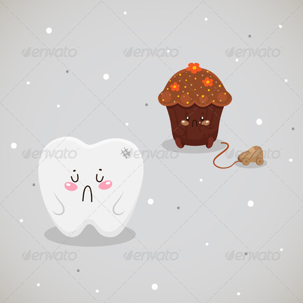 Cupcake and Tooth - Health/Medicine Conceptual