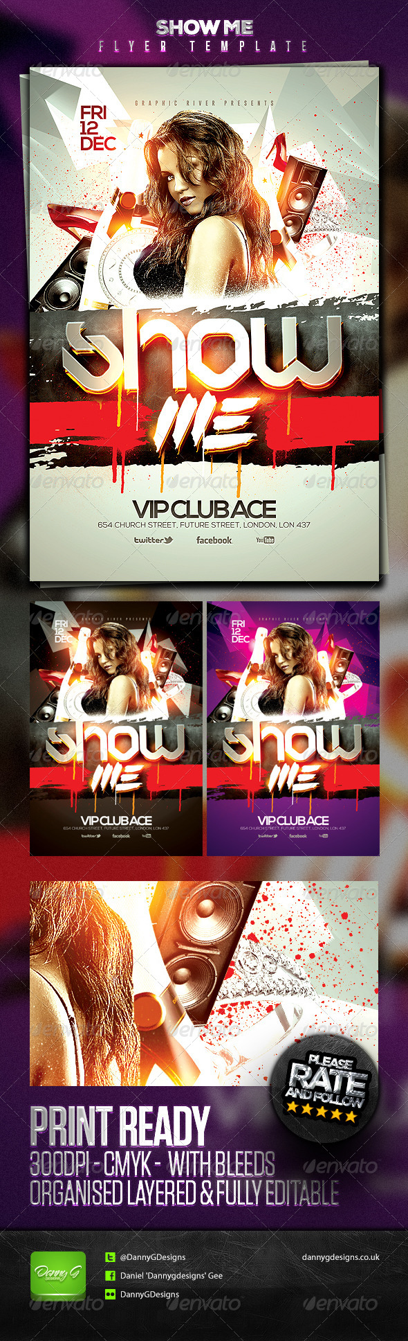 Show Me Flyer Template - Clubs & Parties Events
