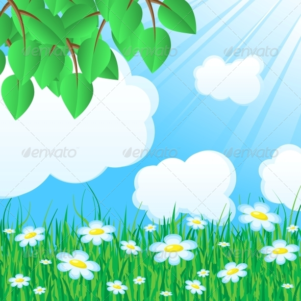 Blue Background with Grass and Leaves - Landscapes Nature