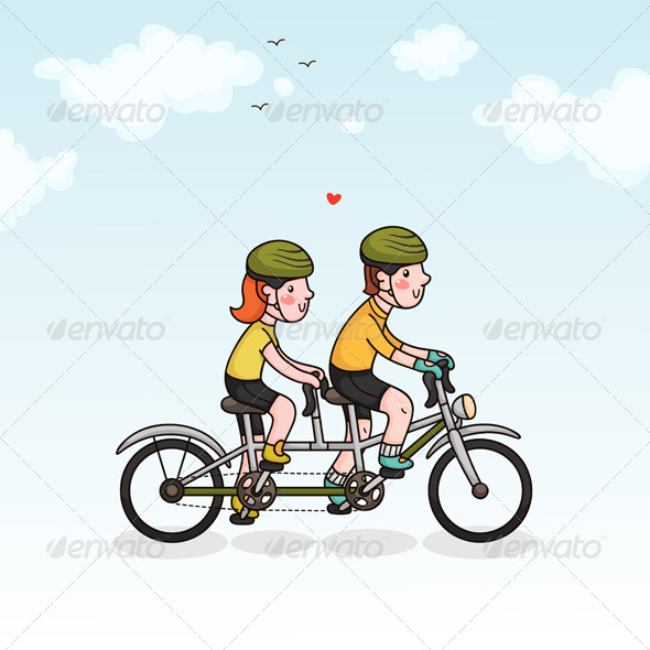 Couple Cycling - Sports/Activity Conceptual