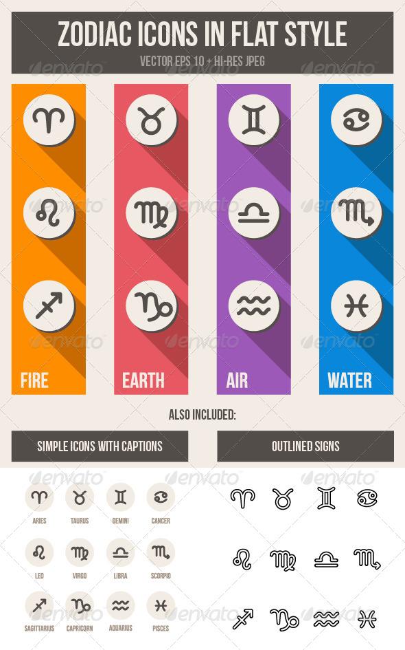 Zodiac Symbols Set - Abstract Icons
