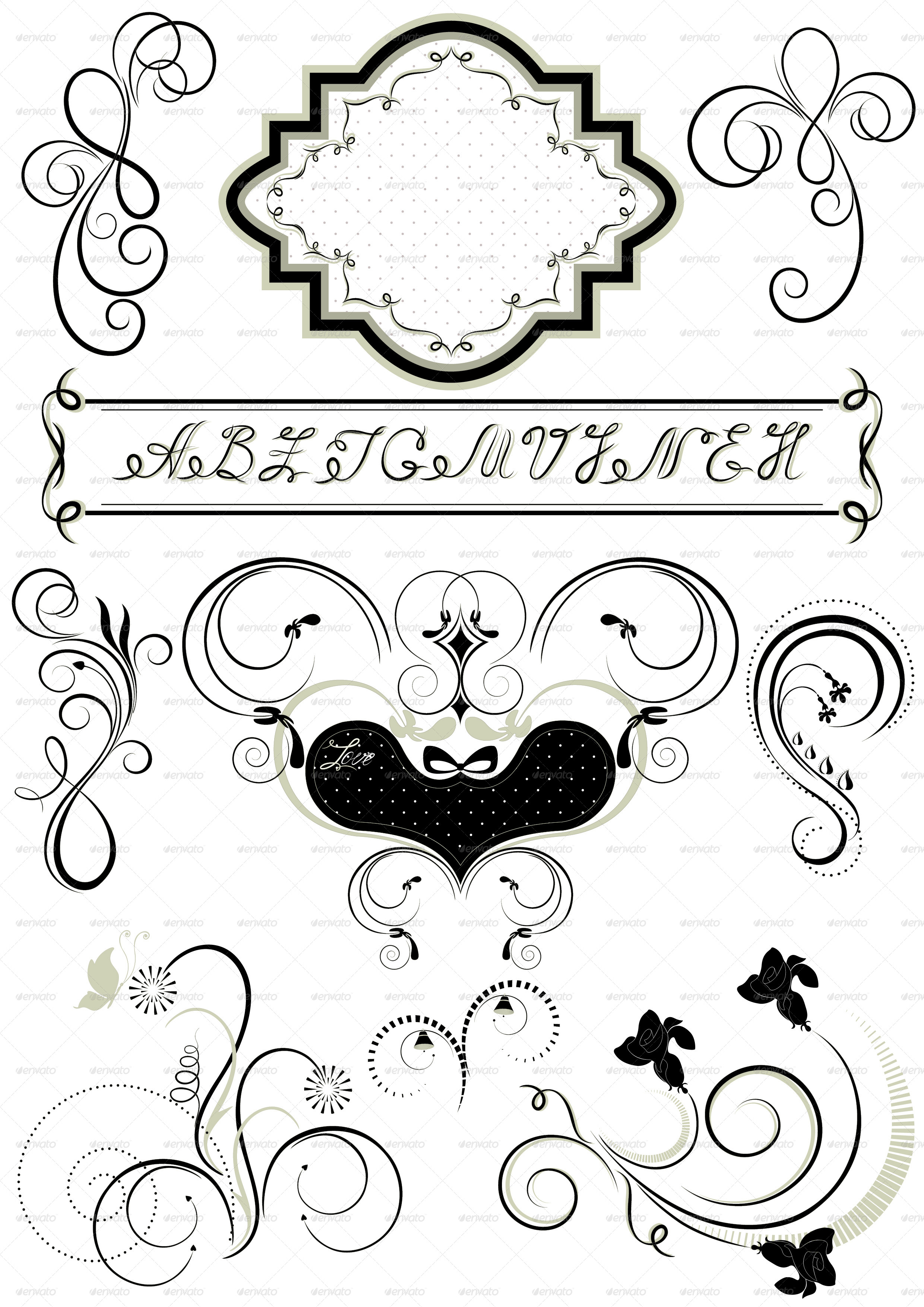 Frames and calligraphic ornaments by tatyanamh graphicriver for Adornos para paginas