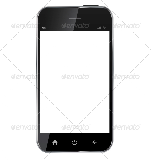 Abstract Design Realistic Mobile Phone with Blank - Computers Technology