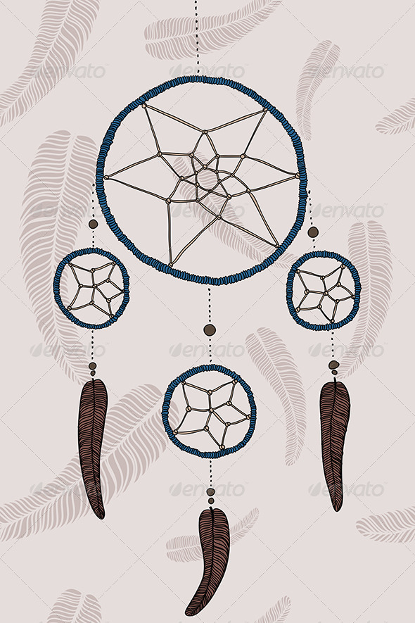 Blue Dreamcatcher - Decorative Symbols Decorative