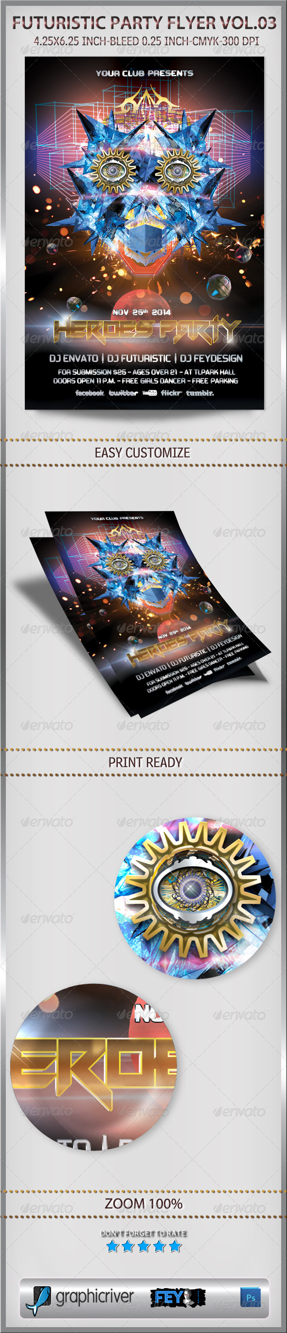 Futuristic Party Flyer Vol.03 - Flyers Print Templates