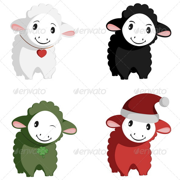 Happy Sheep Mascots - Animals Characters