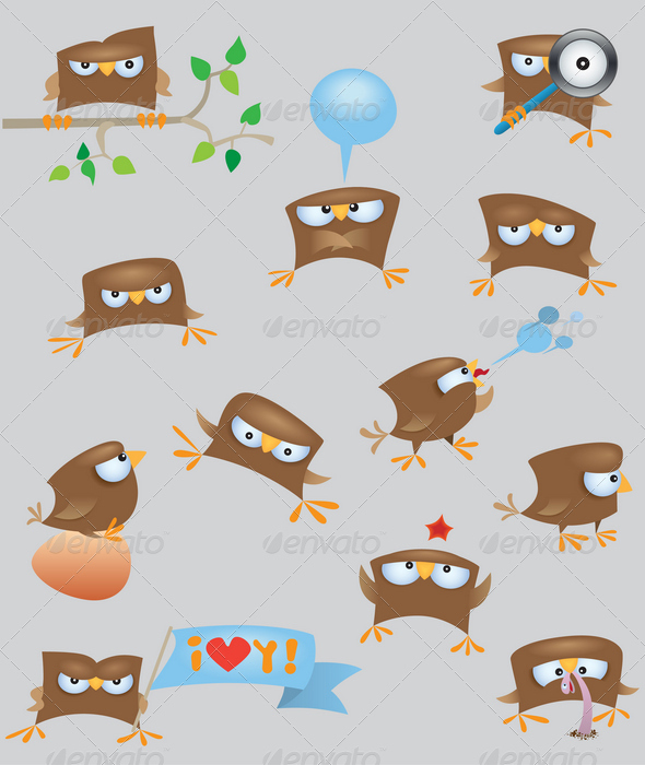 Set of cartoon funny sparrow birds - Animals Characters