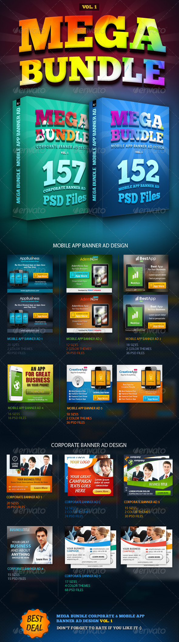 MEGA BUNDLE Vol.1 Corporate & Mobile App Banner Ad - Banners & Ads Web Elements