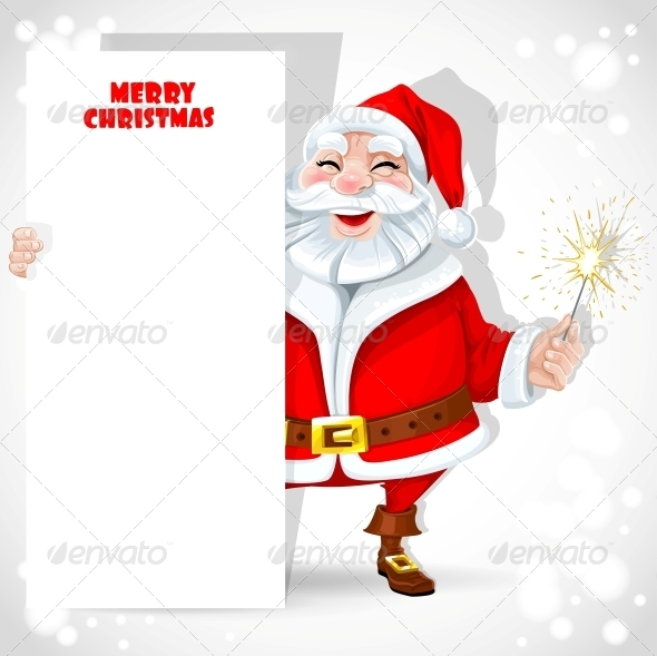Santa Claus holding Banner and Sparkler - Christmas Seasons/Holidays
