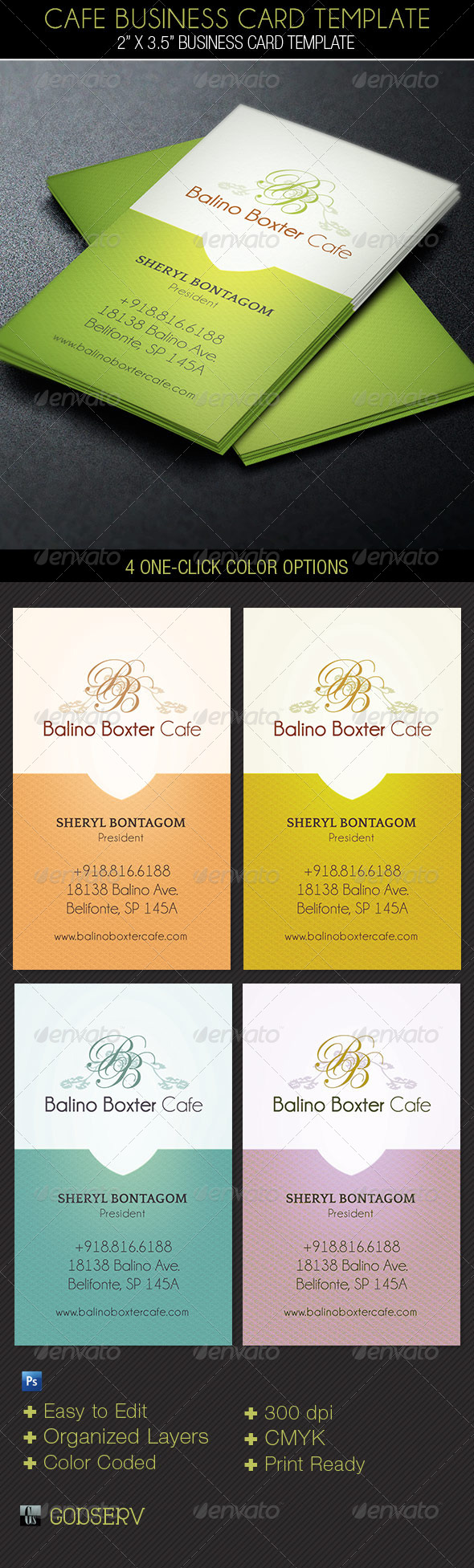 Cafe Business Card Template - Industry Specific Business Cards