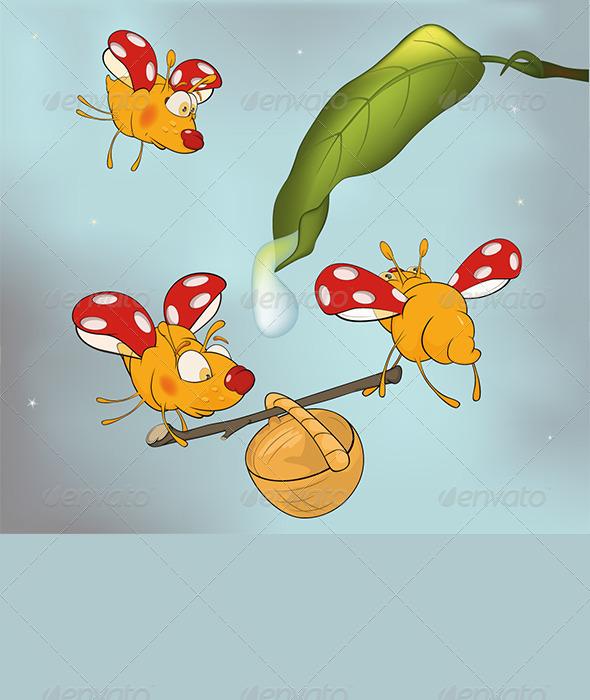 Ladybirds and Dew Cartoon  - Animals Characters