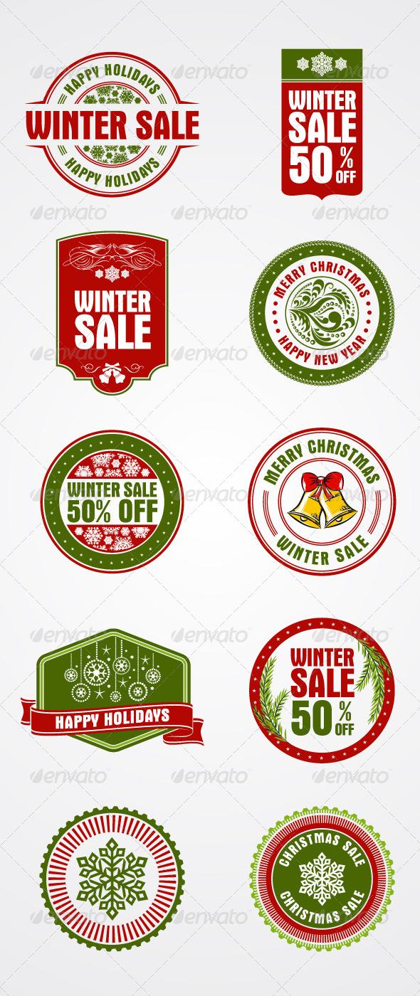 10 Christmas, Holiday Themed Stamps, Badges - Christmas Seasons/Holidays