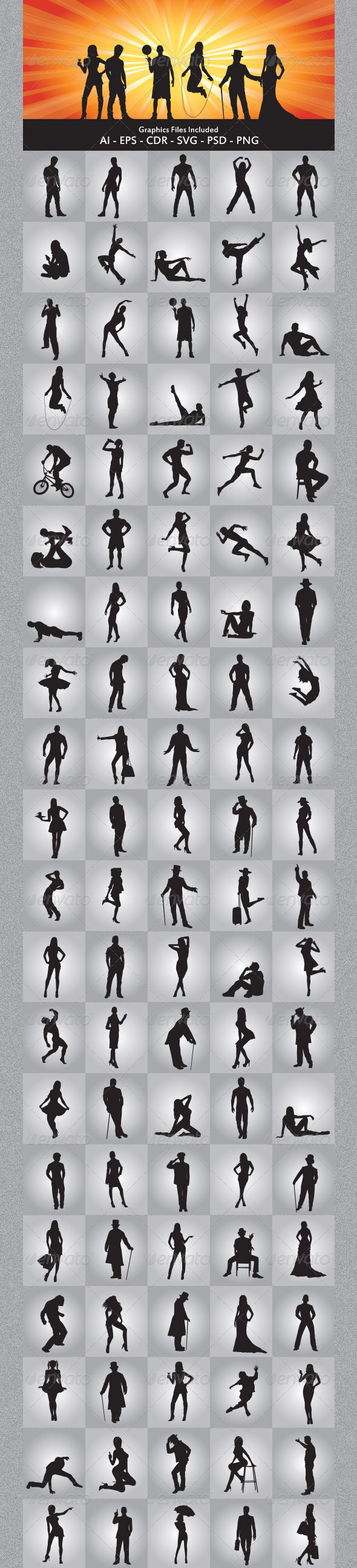 Various People Silhouettes - People Characters