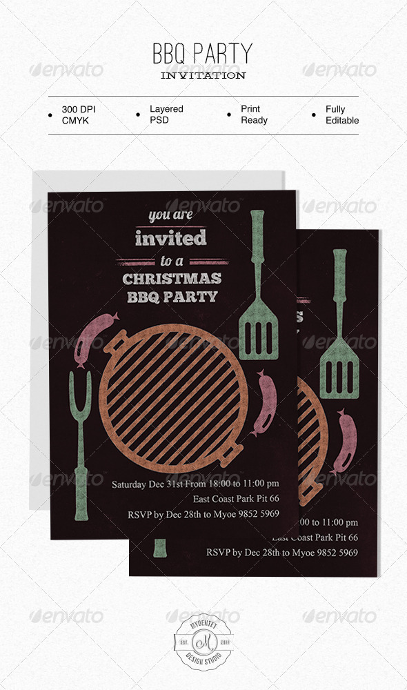 BBQ Party Invitation - Holiday Greeting Cards